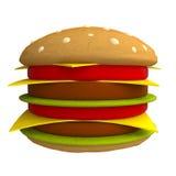 Cartoon hamburger made from plasticine or clay. Royalty Free Stock Photo