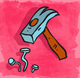 Cartoon hammer illustration, vector icon Royalty Free Stock Photography