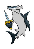 Cartoon hammerhead shark pirate with sword Royalty Free Stock Images
