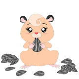 Cartoon hamster with food Royalty Free Stock Photography