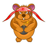 Cartoon hamster kamikaze bomb in the hands Royalty Free Stock Photo