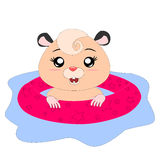 Cartoon hamster with rubber ring Royalty Free Stock Photography