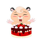 Cartoon hamster with strawberry cake Stock Photo