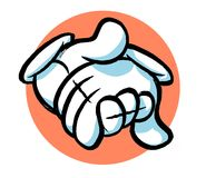 Cartoon hand. Cartoon holding hands caricature, hands in white glove Royalty Free Stock Photos