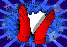 Cartoon hand clapping on comic book background. stock illustration