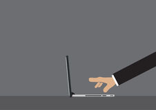 Cartoon Hand Clicking on Laptop Computer Vector Illustration. Side view of cartoon hand in long sleeves with extended fingers clicking on laptop computer Stock Photo