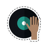 Cartoon hand dj playing vinyl Stock Photos