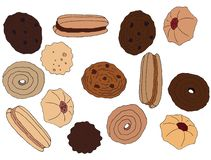 Cartoon hand draw colored cookies art set chocolate cafe diet tasty royalty free illustration