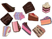 Cartoon hand draw doodle colored cakes food cafe art chocolate royalty free illustration