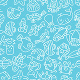 Cartoon hand draw fish seamless pattern Royalty Free Stock Photo