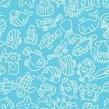 Cartoon hand draw fish seamless pattern Royalty Free Stock Photo