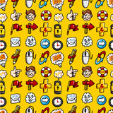 Cartoon hand draw web icons seamless pattern with Royalty Free Stock Photos