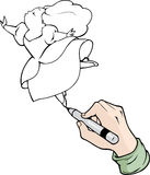 Cartoon hand drawing with black marker Royalty Free Stock Photography