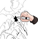 Cartoon hand drawing with black marker Royalty Free Stock Images