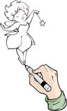 Cartoon hand drawing with black marker Stock Images