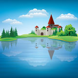 Cartoon hand drawing color castle Illustration Royalty Free Stock Photography