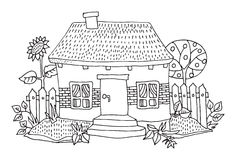 Cartoon hand drawing house Stock Image