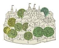 Cartoon hand drawing houses Stock Photos