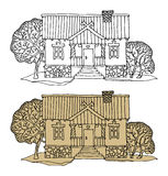 Cartoon hand drawing houses Royalty Free Stock Image