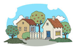 Cartoon hand drawing houses Royalty Free Stock Photos