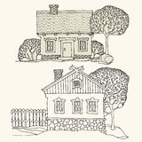 Cartoon hand drawing houses Stock Image