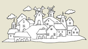 Cartoon hand drawing houses Stock Photography