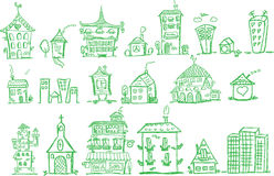 Cartoon hand drawing houses, vector Stock Photography