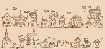 Cartoon hand drawing houses, vector Royalty Free Stock Images