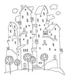 Cartoon hand drawing houses Royalty Free Stock Photography