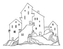 Cartoon hand drawing houses Stock Images
