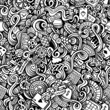 Cartoon hand drawn casino doodles seamless pattern. Line art detailed, with lots of objects raster background stock illustration