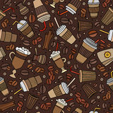 Cartoon hand-drawn coffee shop seamless pattern Royalty Free Stock Photo