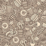 Cartoon hand-drawn coffee shop seamless pattern Stock Images