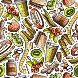 Cartoon hand-drawn Diet food seamless pattern Stock Images