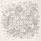 Cartoon  hand drawn Doodle Be My Valentine Royalty Free Stock Photography
