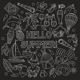 Cartoon hand drawn doodle consisting of separate elements. Summe. Cartoon hand drawn Doodle summer holiday poster design template. Painted in chalk on a black Royalty Free Stock Images