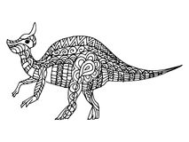 Cartoon, hand drawn,  doodle illustration of dinosaur Stock Image
