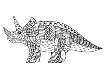 Cartoon, hand drawn,  doodle illustration of dinosaur Royalty Free Stock Photo