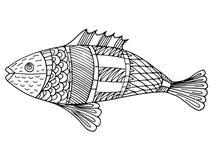 Cartoon, hand drawn,  doodle illustration of fish. Motive of sea life Royalty Free Stock Photos