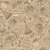 Cartoon hand-drawn doodles birthday theme seamless pattern Royalty Free Stock Images