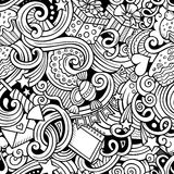 Cartoon hand-drawn doodles birthday theme seamless Royalty Free Stock Image