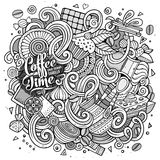 Cartoon hand-drawn doodles of cafe, coffee shop background Royalty Free Stock Image