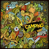 Cartoon hand-drawn doodles camp illustration. Cartoon hand-drawn doodles camping illustration. Colorful detailed, with lots of objects vector design background Stock Images