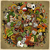 Cartoon hand-drawn doodles casino, gambling illustration Stock Image