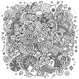 Cartoon hand-drawn doodles casino, gambling illustration Stock Photo