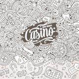 Cartoon hand-drawn doodles casino, gambling illustration Stock Photos