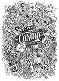Cartoon hand-drawn doodles casino, gambling illustration Royalty Free Stock Photography