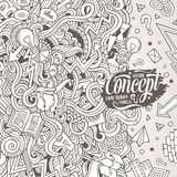 Cartoon hand-drawn doodles Concept illustration Stock Photography