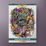 Cartoon hand drawn doodles Handmade poster Stock Photo