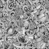 Cartoon hand-drawn doodles handmade, sewing seamless pattern Stock Image